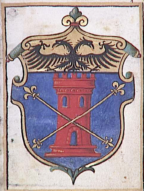 Coat of Arms from the Torriani Book of Hours. The eagle in this version of the crest represents Napo della Torre and his status as Imperial Vicar of Milan in 1274.