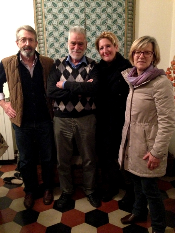 With my wonderful hosts and the local historian in the Torriani House, Primaluna