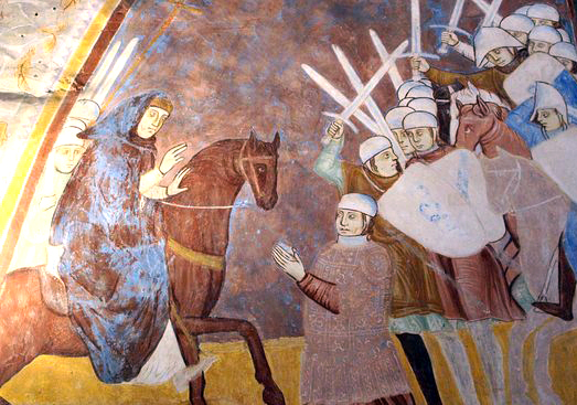 Napo della Torre yielding to Ottone Visconti at the battle of Desio. This fresco is on the wall of the Rocca Borromeo di Angera, a castle that had been owned by the della Torre until they lost it to the Visconti.